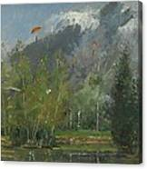 Hang Gliders At Chamonix, 2007 Oil On Canvas Canvas Print