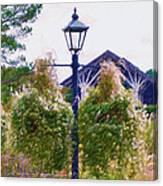Hanging Flowers With An Old Fashioned Lantern Canvas Print