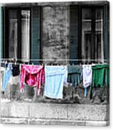 Hanging The Wash In Venice Italy Canvas Print