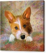 Hankie A Corgi And Westi Mix Cute Dog Canvas Print