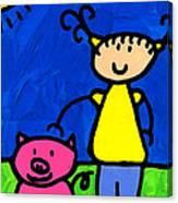 Happi Arte 1 - Girl With Pink Pig Art Canvas Print
