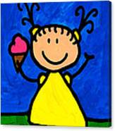 Happi Arte 3 - Little Girl Ice Cream Cone Art Canvas Print