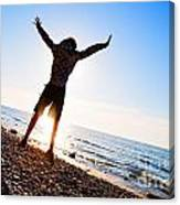 Happiness In The Beach Scenery Canvas Print