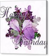 Happy Birthday Greeting Card - Purple Luneria Canvas Print