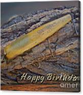 Happy Birthday Greeting Card - Vintage Atom Saltwater Fishing Lure Canvas Print