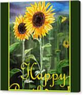 Happy Birthday Happy Sunflowers Couple Canvas Print