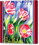 Happy Birthday Pink Poppies Canvas Print