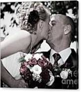 Happy Bride And Groom Kissing Canvas Print