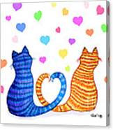 Happy Cats And Hearts Canvas Print