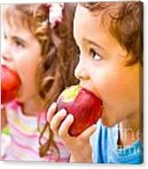 Happy Children Eating Apple Canvas Print