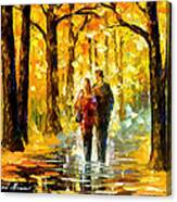 Happy Couple - Palette Knife Oil Painting On Canvas By Leonid Afremov Canvas Print