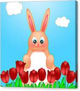 Happy Easter Bunny Rabbit On Field Of Tulips Flowers Canvas Print