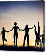 Happy Group Of People Friends Family Together Canvas Print