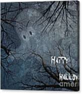 Happy Halloween - Ghost In Trees Canvas Print