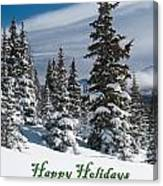 Happy Holidays - Winter Trees And Rising Clouds Canvas Print