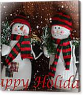 Happy Holidays - Christmas - Snowman Collection - Greeting Cards Canvas Print
