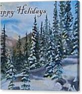 Happy Holidays Forest And Mountains Canvas Print