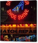 Happy Holidays - Neon Of New York - Shoe Repair - Holiday And Christmas Card Canvas Print