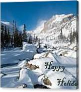 Happy Holidays Snowy Mountain Scene Canvas Print