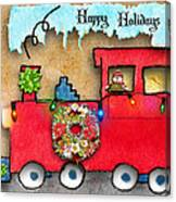 Happy Holidays Train Canvas Print