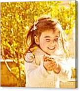 Happy Little Girl In Autumn Park Canvas Print