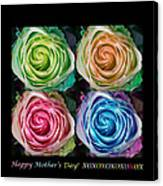 Happy Mothers Day Hugs Kisses And Colorful Rose Spirals Canvas Print