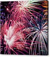 Happy New Year Fireworks Night Scene Canvas Print