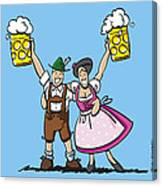 Happy Oktoberfest Couple Beer Canvas Print
