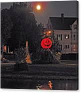 Happy Pumpkin At The Pond Canvas Print