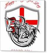 Happy St George Stand Tall Proud To Be English Retro Poster Canvas Print