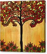 Happy Tree In Red Canvas Print