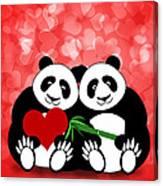 Happy Valentines Day Panda Couple Hearts Bokeh Canvas Print