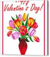 Happy Valentines Tulip Bouquet Canvas Print