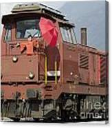 Happy Woman Standing On Train Canvas Print