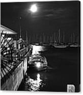 Harbor Boat At Night Canvas Print