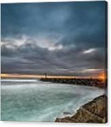 Harbor Jetty Sunset Canvas Print