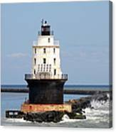 Harbor Of Refuge Light  And Breakwater Canvas Print