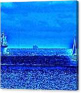 Harbor Of Refuge Lighthouse And Sailboat Abstract Canvas Print