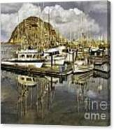 Harbor Reflection Impasto Canvas Print