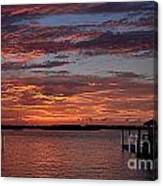 Harbor Side Sunset At Boat Dock Canvas Print