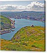 Harbour View From Signal Hill National Historic Site In Saint John's-nl Canvas Print