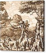 Hare Hunting, Engraved By Wenceslaus Canvas Print