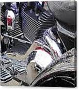 Harley Close-up Blue Lights Canvas Print