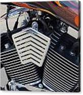 Harley Close-up Orange Flame Canvas Print