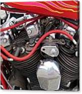 Harley Close-up Pink And Red Flames Canvas Print