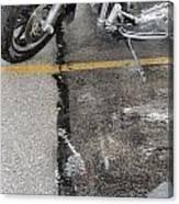 Harley Close-up Rain Reflections Tall Canvas Print