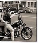 Harley Davidson Black And White Canvas Print
