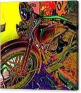 Harley Davidson In Neon  Canvas Print