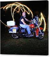 Harley Davidson Light Painting Canvas Print