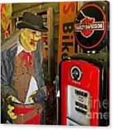 Harley Davidson Vintage Gas Pump Canvas Print